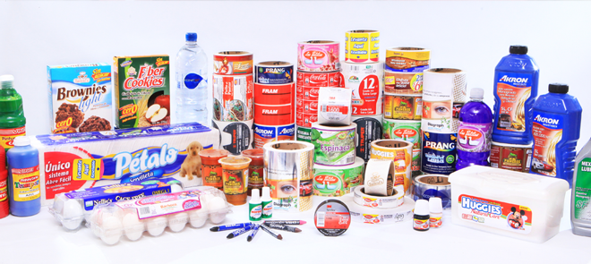 large collection of products with digital labels